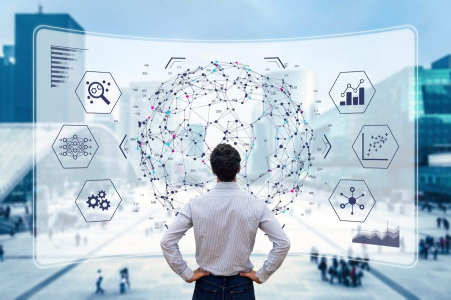 Data Driven Decision Making Big data analytics visualization technology with scientist analyzing information structure on screen with machine learning to extract strategical prediction for business, finance, internet of things