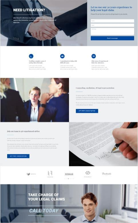 Law firm landing page design