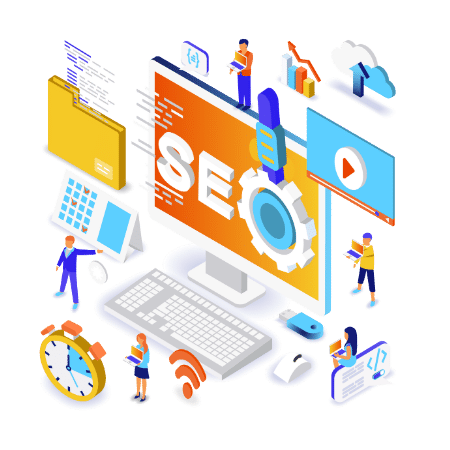 Search engine optimization isometric concept rockford seo agency