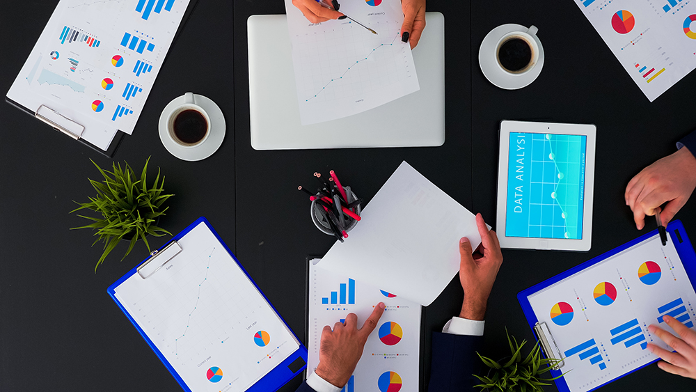 People brainstorming financial statistics graphs wv9bqqk